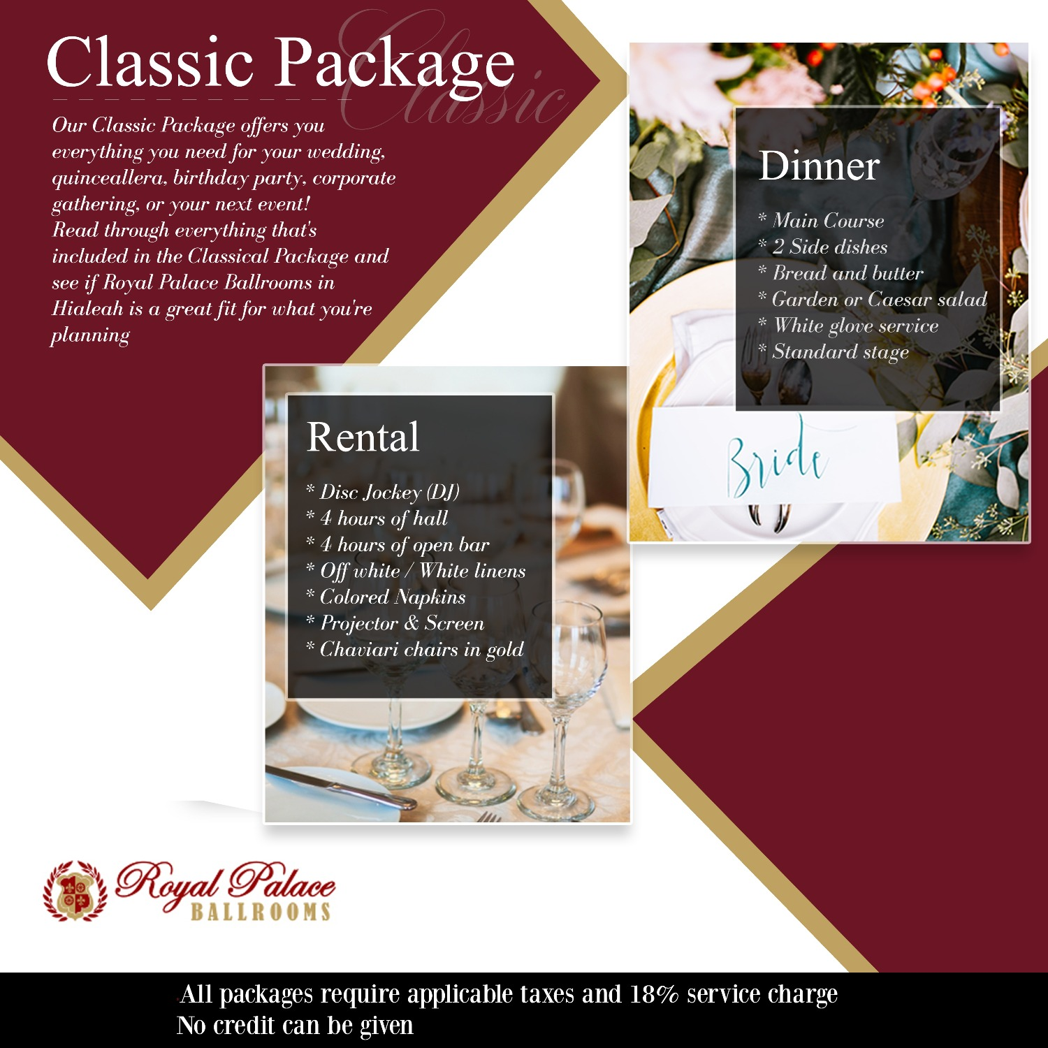Classic Package Royal Palace Ballrooms